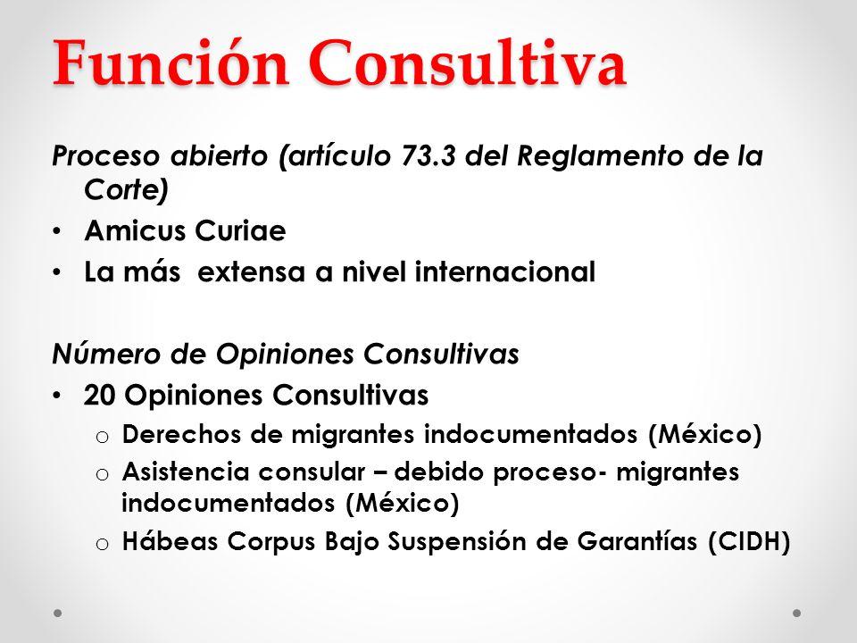 Función Consultiva Proceso abierto (artículo 73.3 del Reglamento de la Corte) Amicus Curiae La más extensa a nivel internacional Número de Opiniones C
