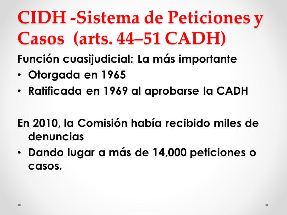 CIDH -Sistema de Peticiones y Casos (arts. 44–51 CADH) Función cuasijudicial: La más importante Otorgada en 1965 Ratificada en 1969 al aprobarse la CA