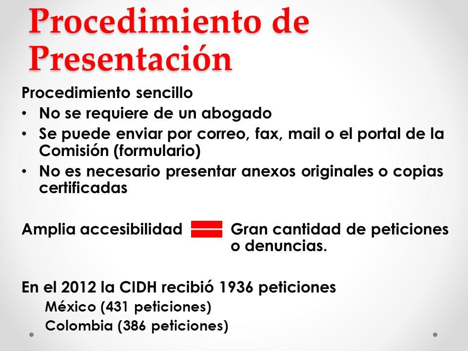 Procedimiento de Presentación Procedimiento sencillo No se requiere de un abogado Se puede enviar por correo, fax, mail o el portal de la Comisión (fo