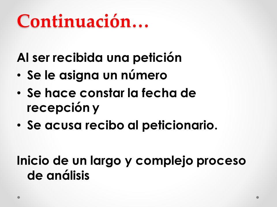 Continuación… Al ser recibida una petición Se le asigna un número Se hace constar la fecha de recepción y Se acusa recibo al peticionario. Inicio de u