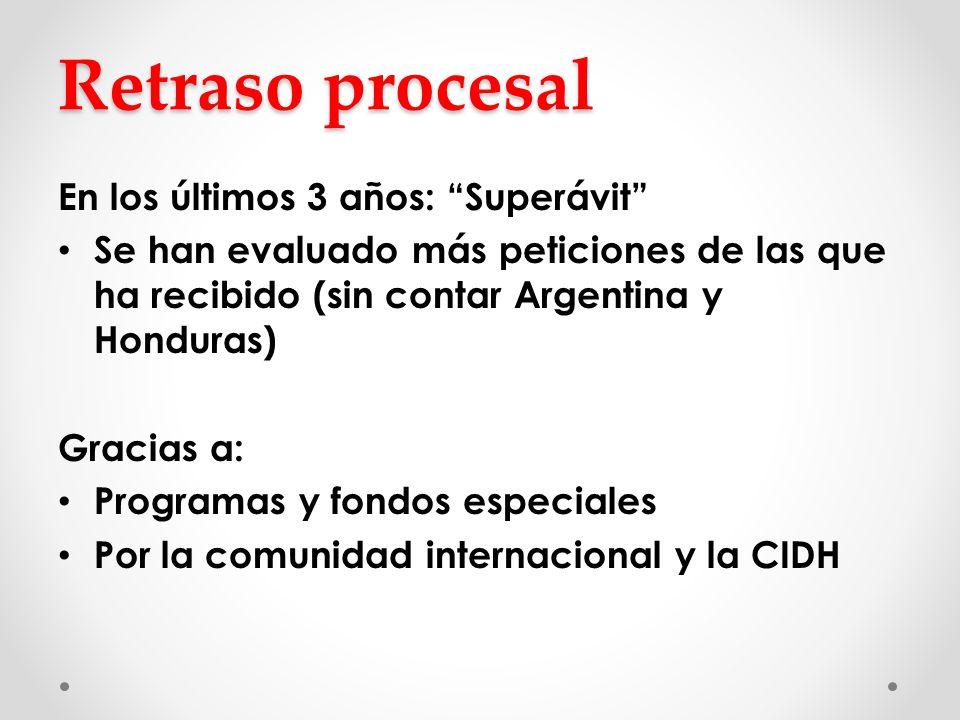 Retraso procesal En los últimos 3 años: Superávit Se han evaluado más peticiones de las que ha recibido (sin contar Argentina y Honduras) Gracias a: P