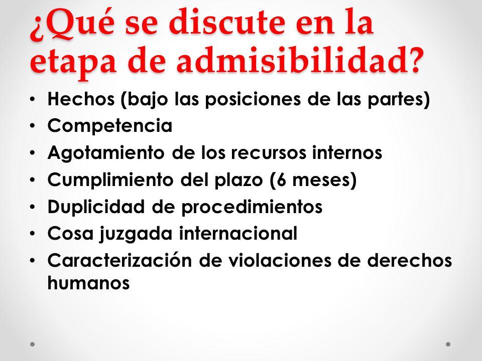 ¿Qué se discute en la etapa de admisibilidad? Hechos (bajo las posiciones de las partes) Competencia Agotamiento de los recursos internos Cumplimiento