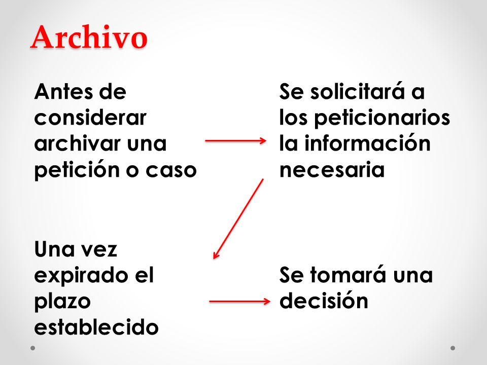 Archivo Antes de considerar archivar una petición o caso Se solicitará a los peticionarios la información necesaria Una vez expirado el plazo establec