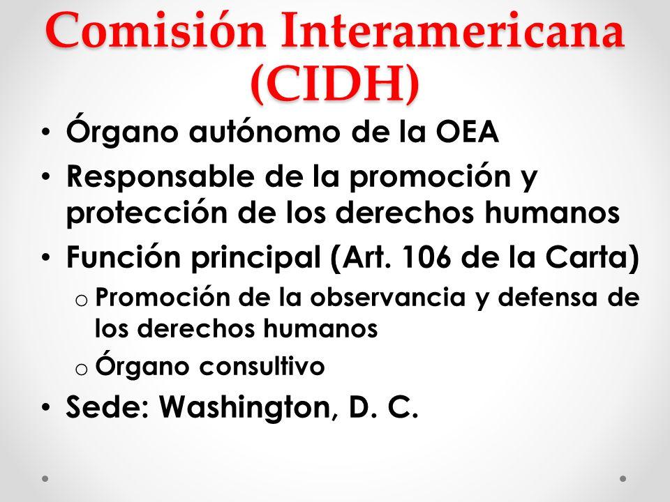Comisión Interamericana (CIDH) Órgano autónomo de la OEA Responsable de la promoción y protección de los derechos humanos Función principal (Art. 106