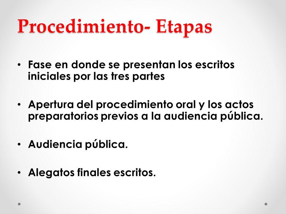 Procedimiento- Etapas Fase en donde se presentan los escritos iniciales por las tres partes Apertura del procedimiento oral y los actos preparatorios