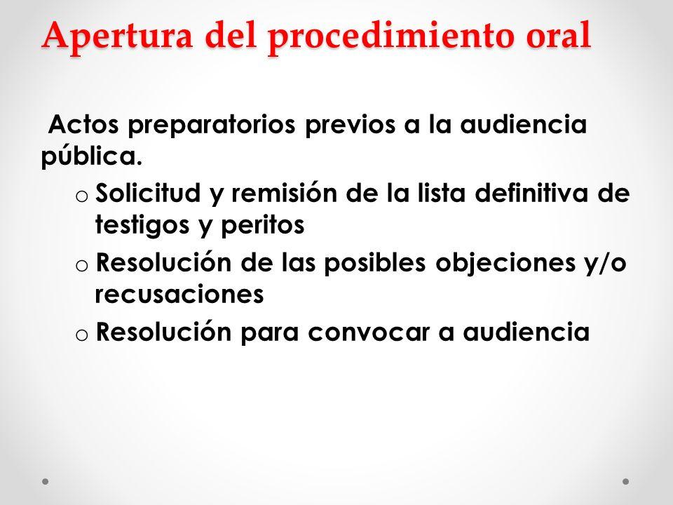 Apertura del procedimiento oral Apertura del procedimiento oral Actos preparatorios previos a la audiencia pública. o Solicitud y remisión de la lista