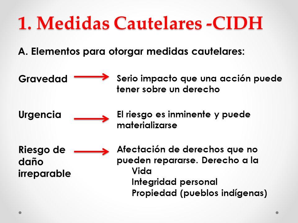 1. Medidas Cautelares -CIDH A. Elementos para otorgar medidas cautelares: Gravedad Serio impacto que una acción puede tener sobre un derecho Urgencia