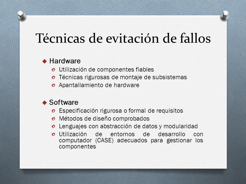 Técnicas de evitación de fallos Hardware o Utilización de componentes fiables o Técnicas rigurosas de montaje de subsistemas o Apantallamiento de hard