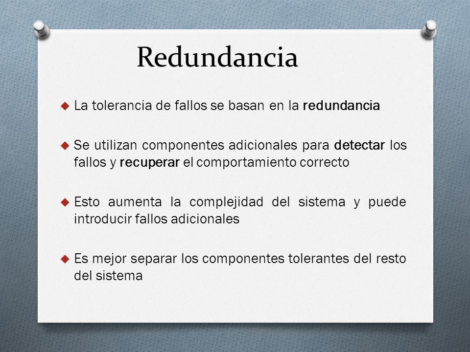 Redundancia La tolerancia de fallos se basan en la redundancia Se utilizan componentes adicionales para detectar los fallos y recuperar el comportamie