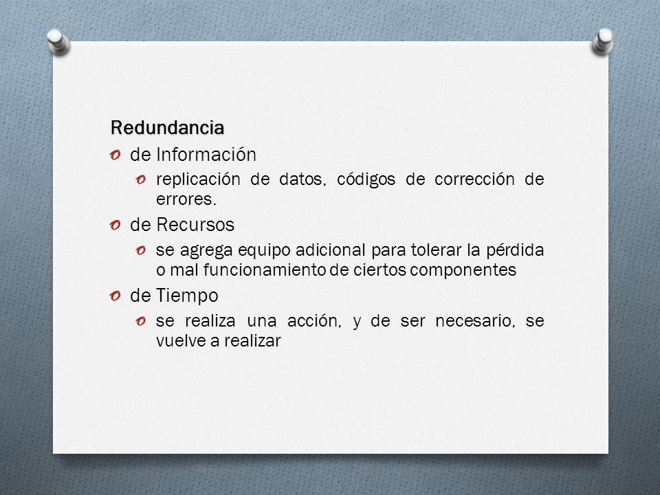 Redundancia o de Información o replicación de datos, códigos de corrección de errores. o de Recursos o se agrega equipo adicional para tolerar la pérd