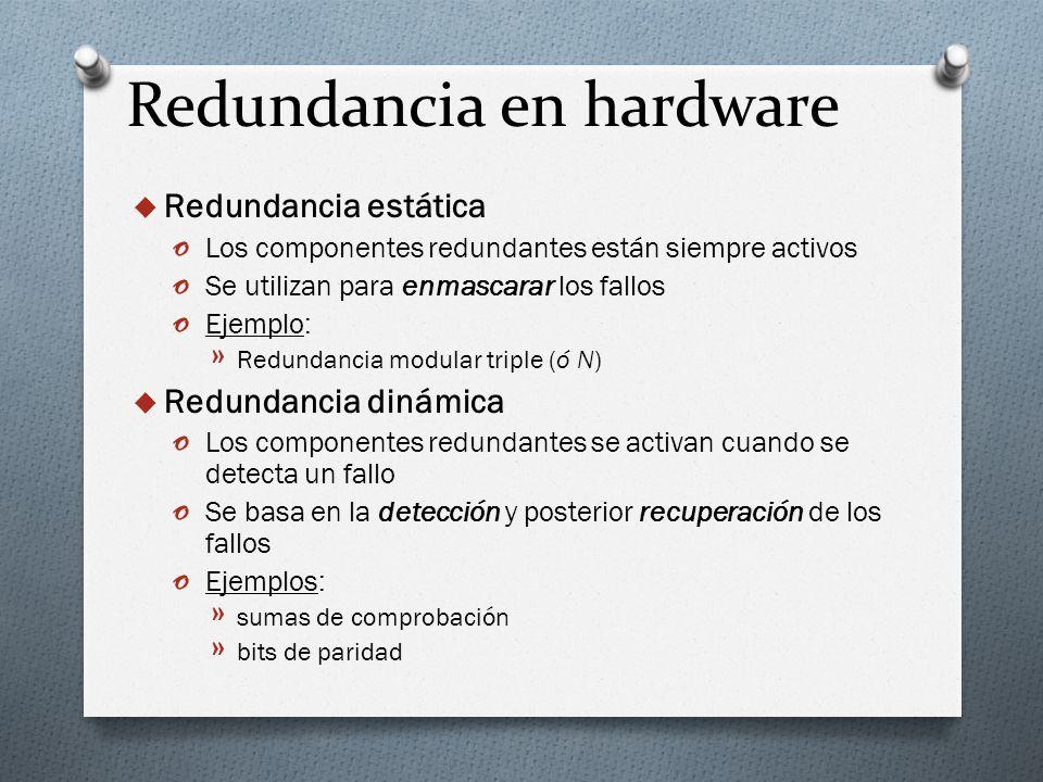 Redundancia en hardware Redundancia estática o Los componentes redundantes están siempre activos o Se utilizan para enmascarar los fallos o Ejemplo: »