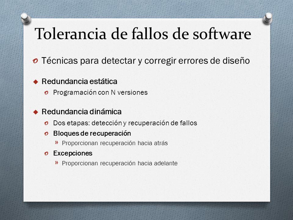 Tolerancia de fallos de software o Técnicas para detectar y corregir errores de diseño Redundancia estática o Programación con N versiones Redundancia