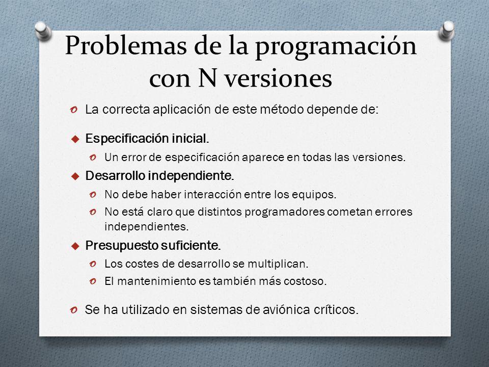 Problemas de la programación con N versiones o La correcta aplicación de este método depende de: Especificación inicial. o Un error de especificación