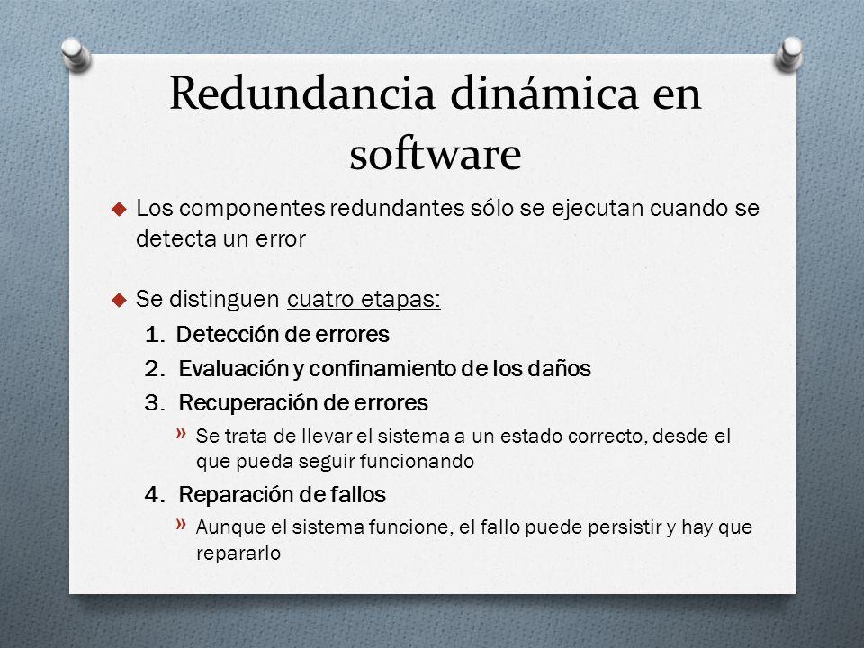 Redundancia dinámica en software Los componentes redundantes sólo se ejecutan cuando se detecta un error Se distinguen cuatro etapas: 1. Detección de