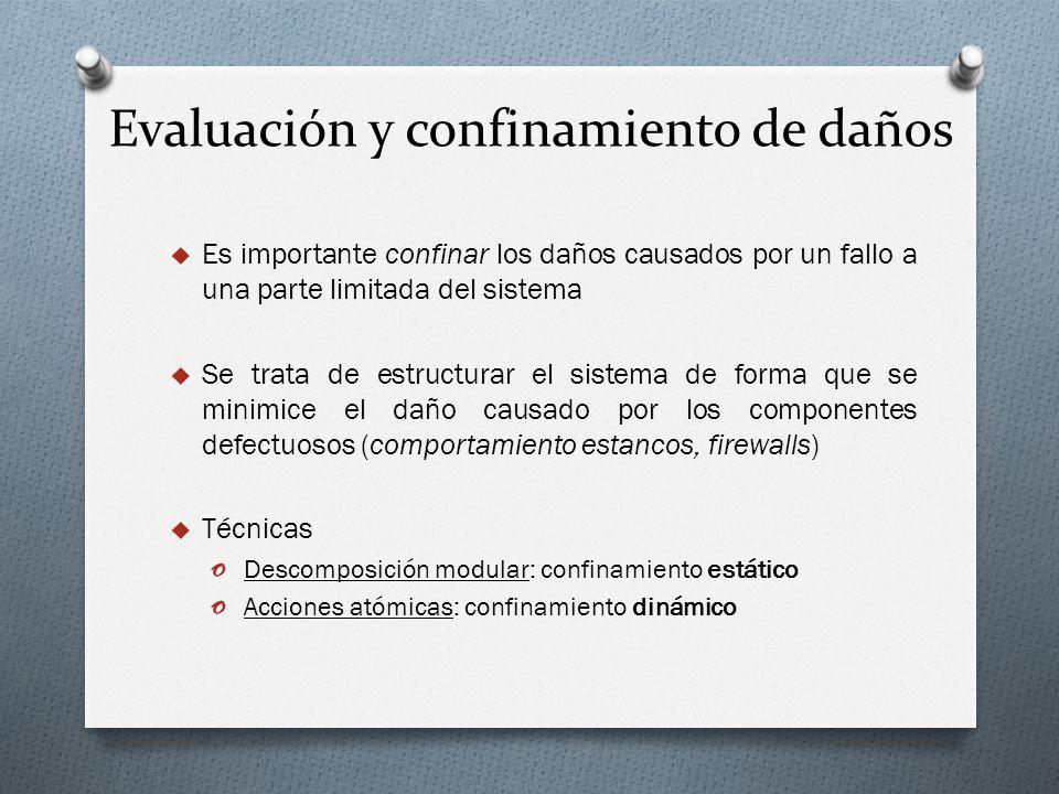 Evaluación y confinamiento de daños Es importante confinar los daños causados por un fallo a una parte limitada del sistema Se trata de estructurar el