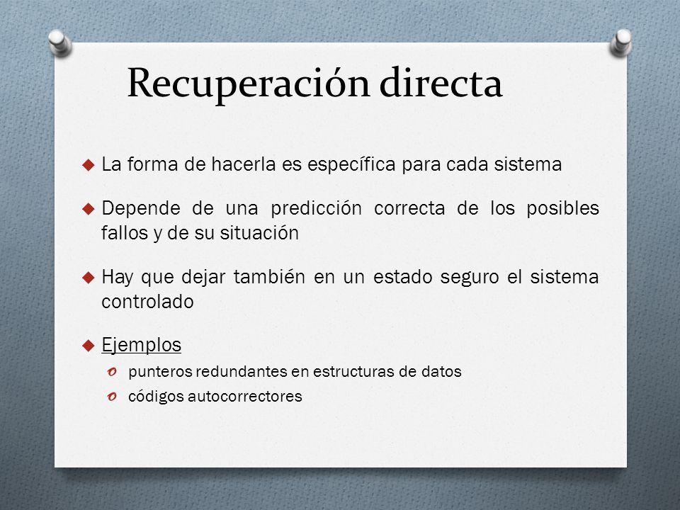 Recuperación directa La forma de hacerla es específica para cada sistema Depende de una predicción correcta de los posibles fallos y de su situación H