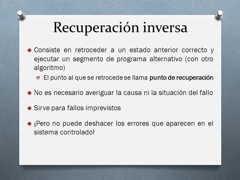 Recuperación inversa Consiste en retroceder a un estado anterior correcto y ejecutar un segmento de programa alternativo (con otro algoritmo) o El pun