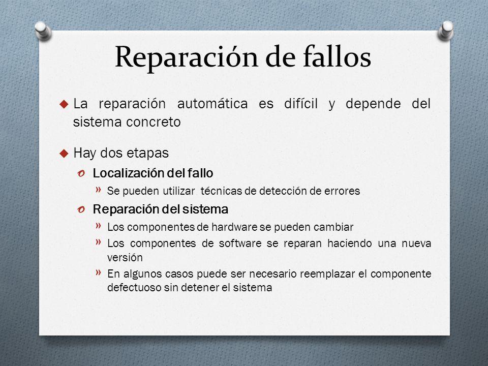 Reparación de fallos La reparación automática es difícil y depende del sistema concreto Hay dos etapas o Localización del fallo » Se pueden utilizar t