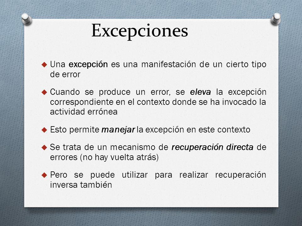 Excepciones Una excepción es una manifestación de un cierto tipo de error Cuando se produce un error, se eleva la excepción correspondiente en el cont