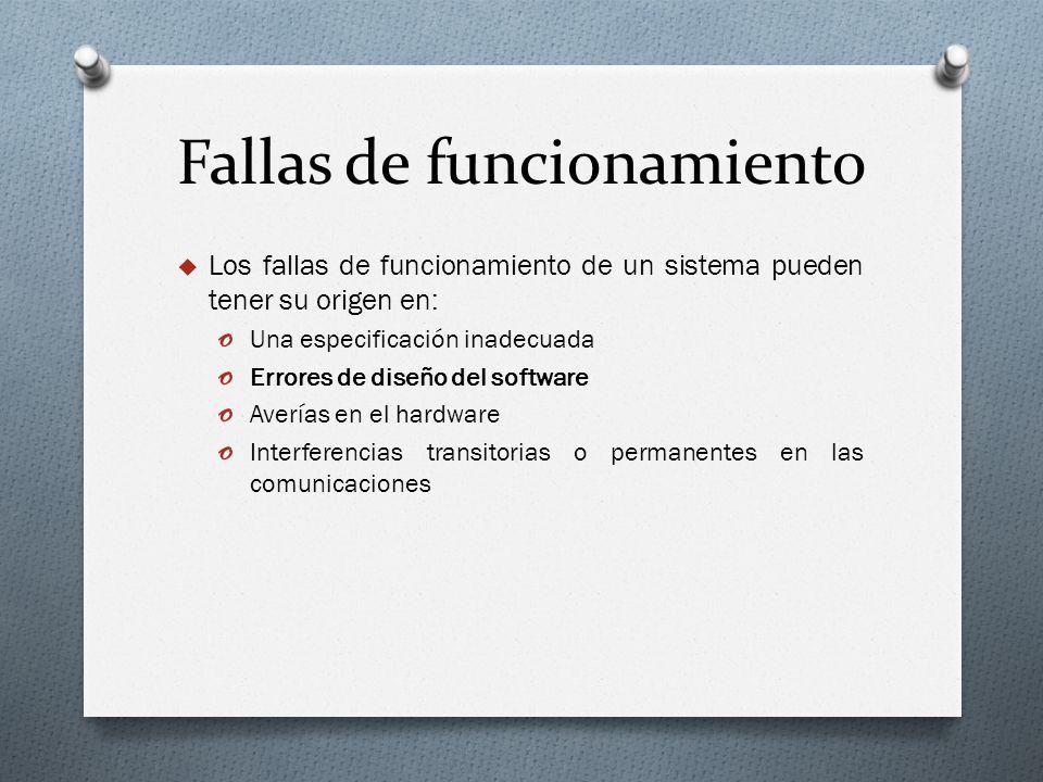 Fallas de funcionamiento Los fallas de funcionamiento de un sistema pueden tener su origen en: o Una especificación inadecuada o Errores de diseño del