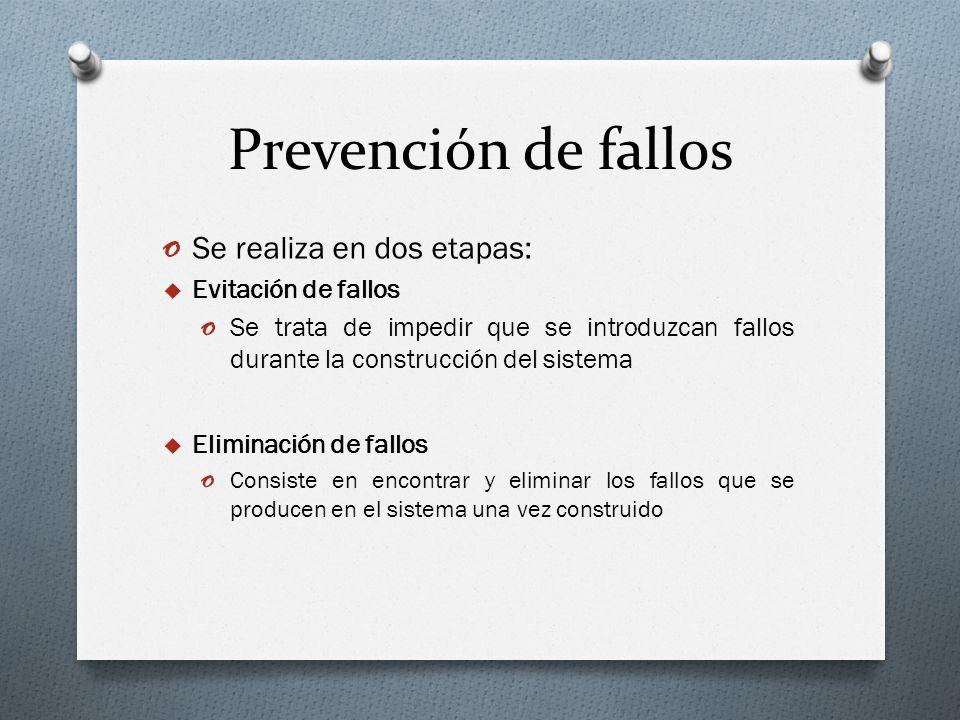 Prevención de fallos o Se realiza en dos etapas: Evitación de fallos o Se trata de impedir que se introduzcan fallos durante la construcción del siste