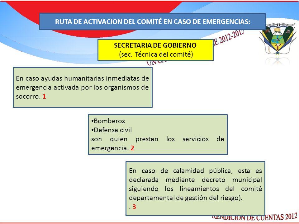 : SECRETARIA DE GOBIERNO (sec. Técnica del comité) En caso ayudas humanitarias inmediatas de emergencia activada por los organismos de socorro. 1 Bomb