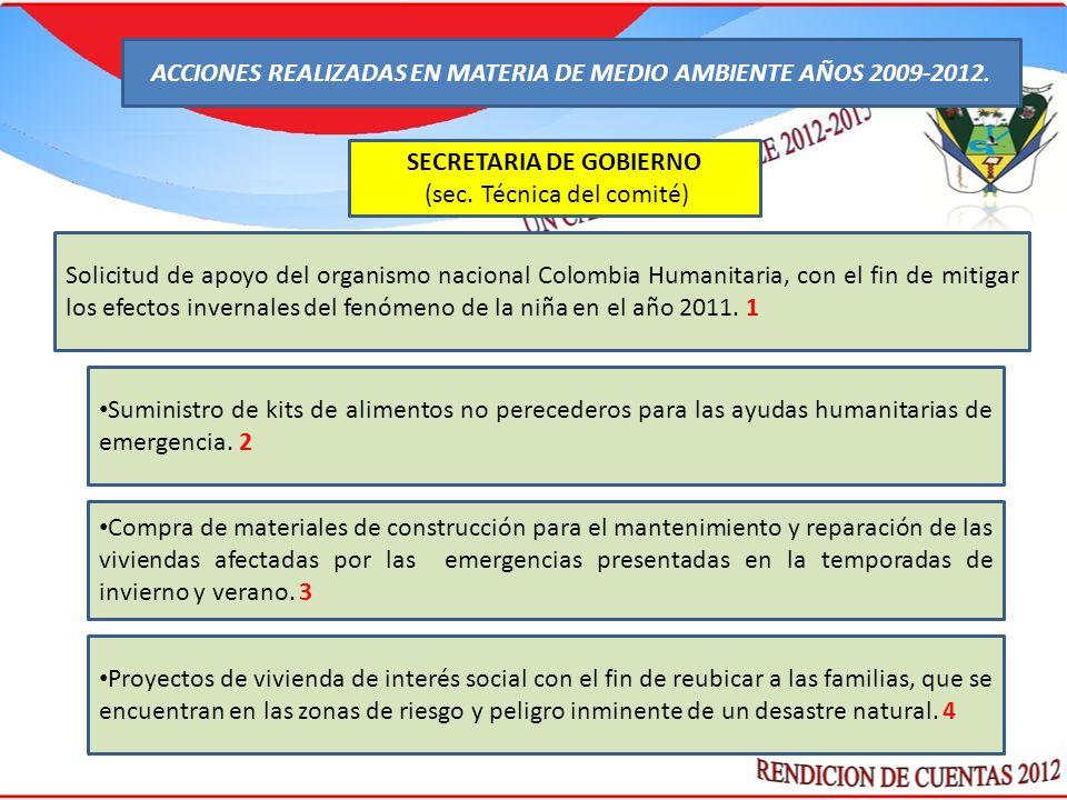: SECRETARIA DE GOBIERNO (sec. Técnica del comité) Solicitud de apoyo del organismo nacional Colombia Humanitaria, con el fin de mitigar los efectos i