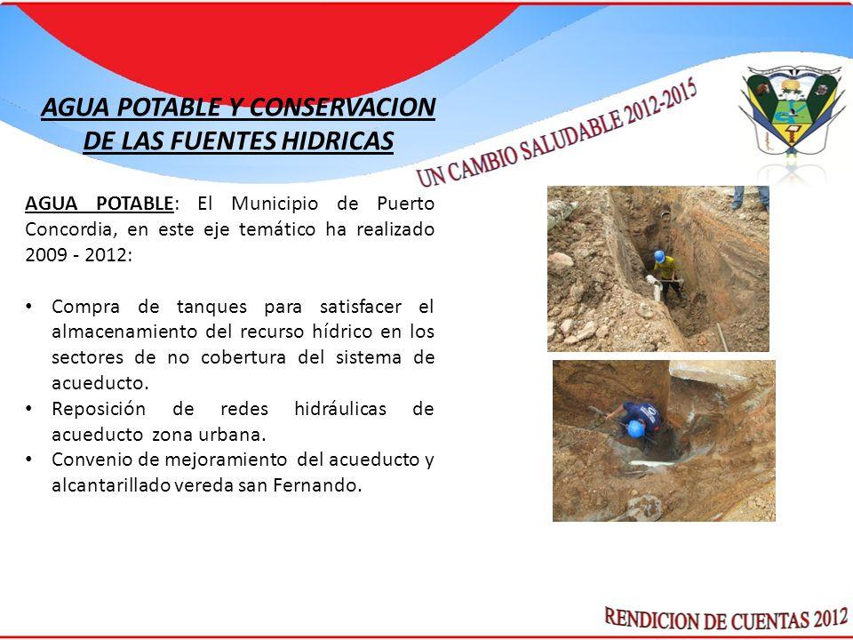 AGUA POTABLE: El Municipio de Puerto Concordia, en este eje temático ha realizado 2009 - 2012: Compra de tanques para satisfacer el almacenamiento del recurso hídrico en los sectores de no cobertura del sistema de acueducto.