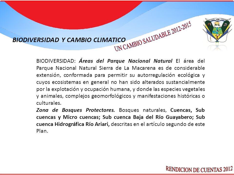 BIODIVERSIDAD: Áreas del Parque Nacional Natural El área del Parque Nacional Natural Sierra de La Macarena es de considerable extensión, conformada pa