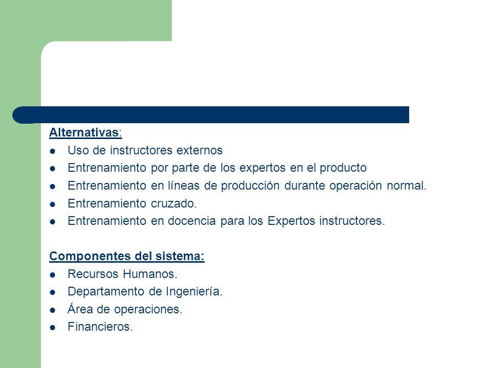 Alternativas: Uso de instructores externos Entrenamiento por parte de los expertos en el producto Entrenamiento en líneas de producción durante operac