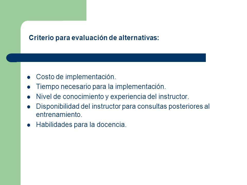 Costo de implementación. Tiempo necesario para la implementación. Nivel de conocimiento y experiencia del instructor. Disponibilidad del instructor pa