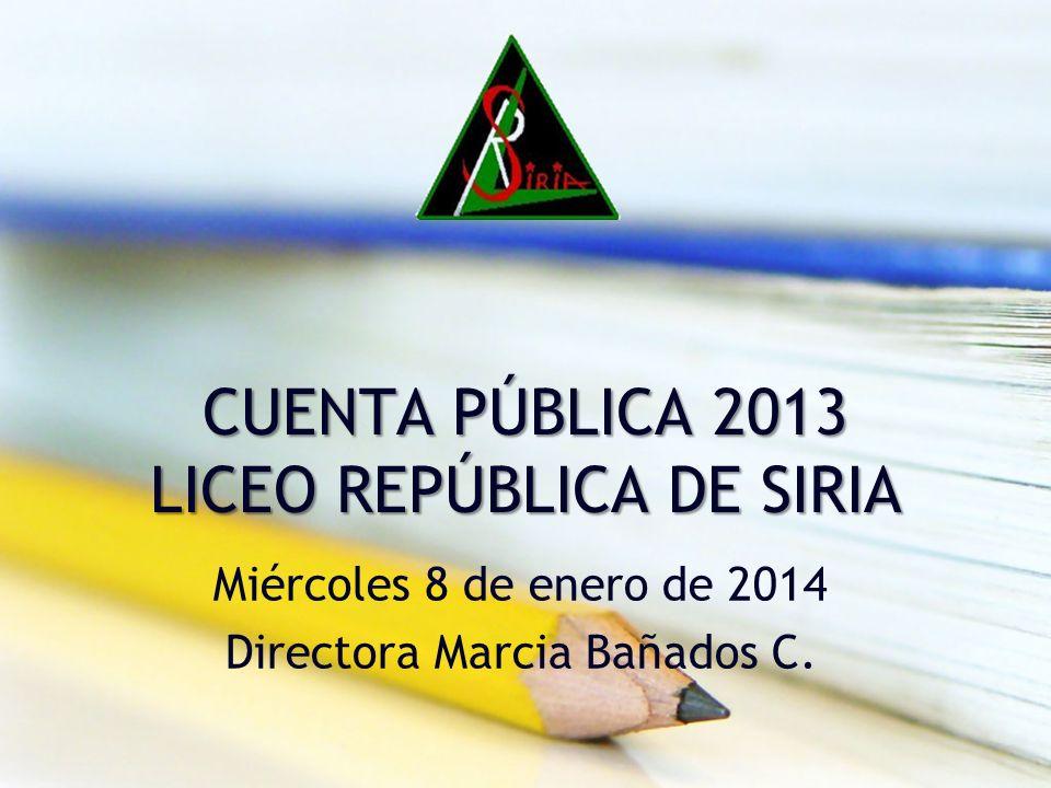 CUENTA PÚBLICA 2013 LICEO REPÚBLICA DE SIRIA Miércoles 8 de enero de 2014 Directora Marcia Bañados C.