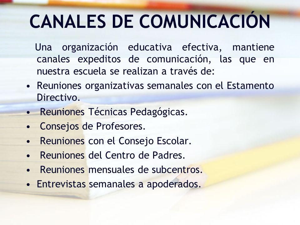 CANALES DE COMUNICACIÓN Una organización educativa efectiva, mantiene canales expeditos de comunicación, las que en nuestra escuela se realizan a trav