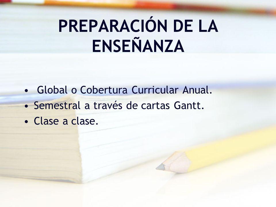 PREPARACIÓN DE LA ENSEÑANZA Global o Cobertura Curricular Anual. Semestral a través de cartas Gantt. Clase a clase.