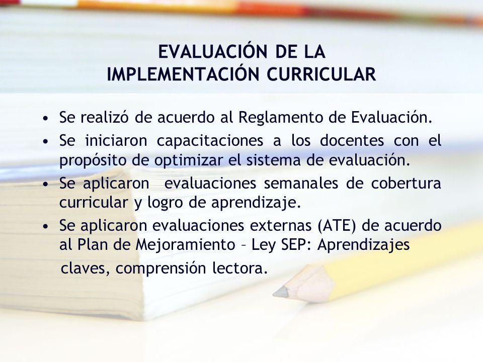 EVALUACIÓN DE LA IMPLEMENTACIÓN CURRICULAR Se realizó de acuerdo al Reglamento de Evaluación. Se iniciaron capacitaciones a los docentes con el propós