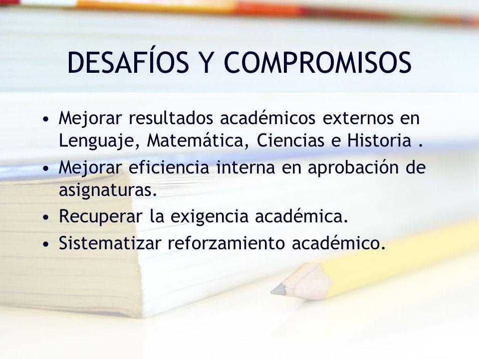 DESAFÍOS Y COMPROMISOS Mejorar resultados académicos externos en Lenguaje, Matemática, Ciencias e Historia. Mejorar eficiencia interna en aprobación d