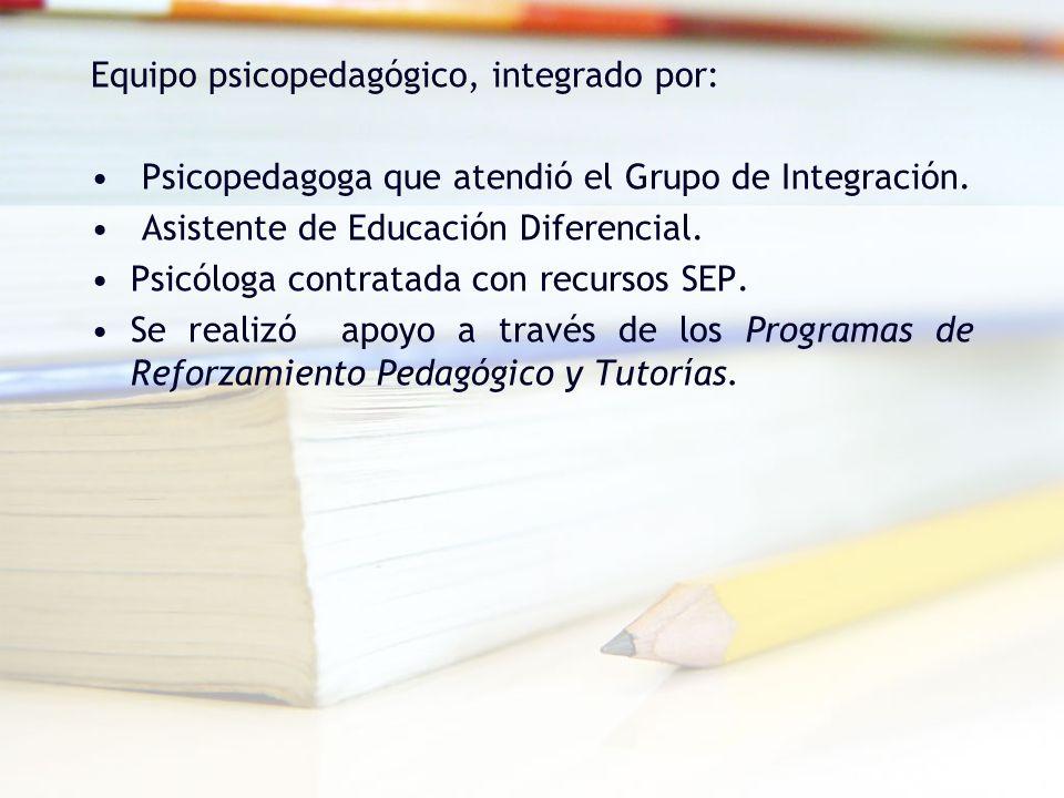 Equipo psicopedagógico, integrado por: Psicopedagoga que atendió el Grupo de Integración. Asistente de Educación Diferencial. Psicóloga contratada con
