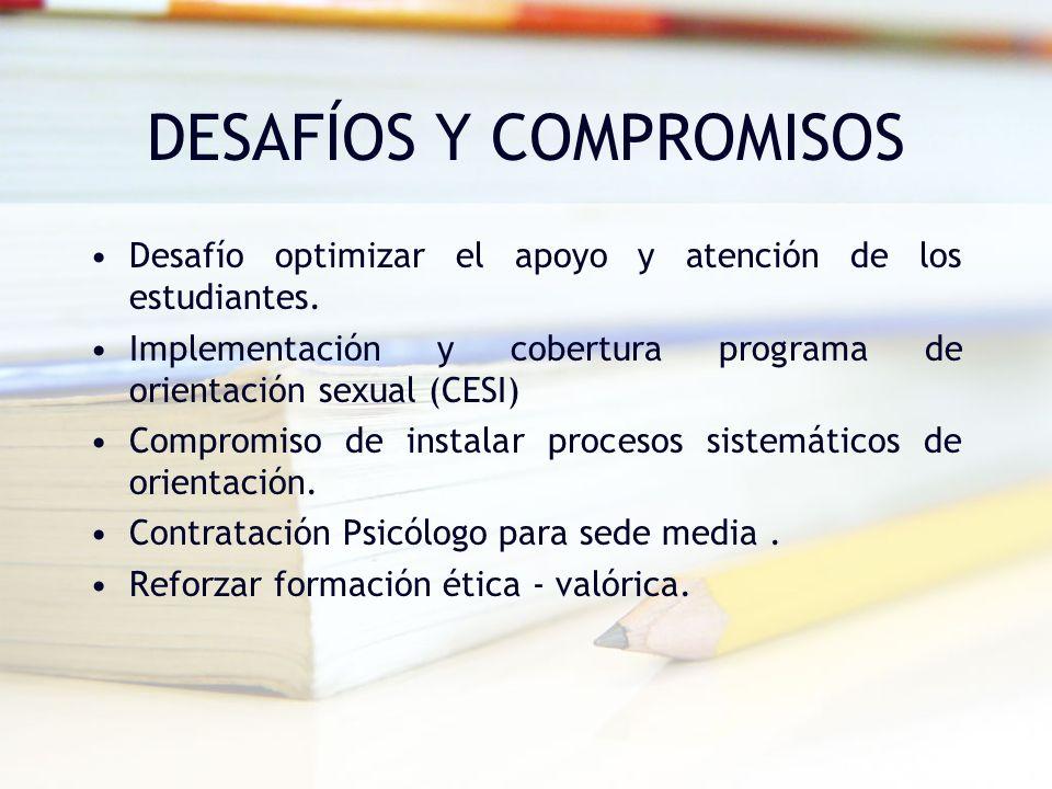 DESAFÍOS Y COMPROMISOS Desafío optimizar el apoyo y atención de los estudiantes. Implementación y cobertura programa de orientación sexual (CESI) Comp