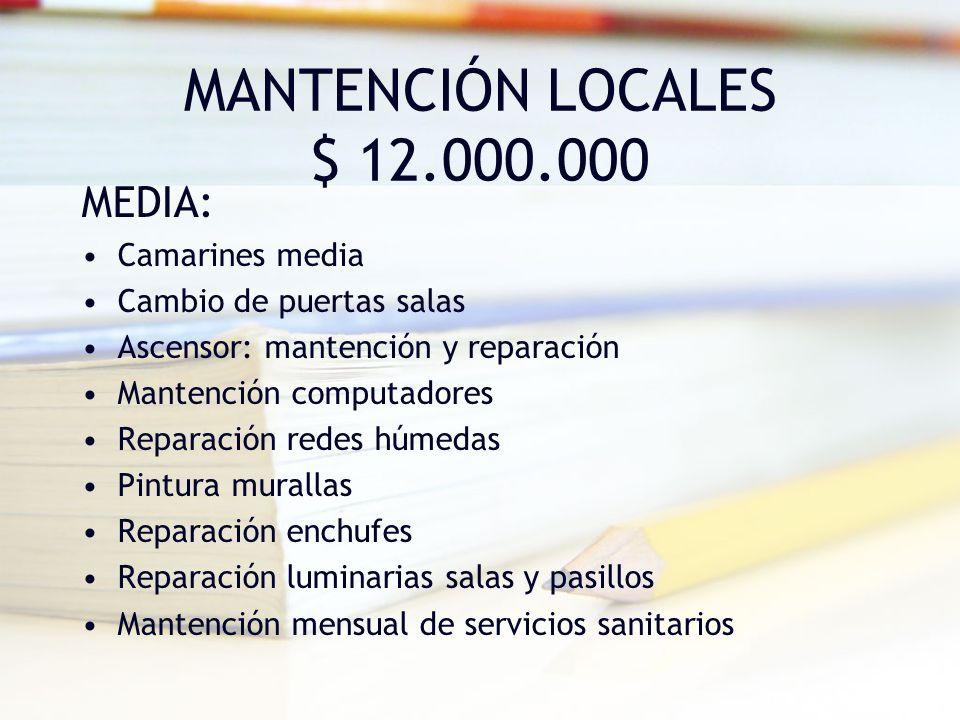 MANTENCIÓN LOCALES $ 12.000.000 MEDIA: Camarines media Cambio de puertas salas Ascensor: mantención y reparación Mantención computadores Reparación re