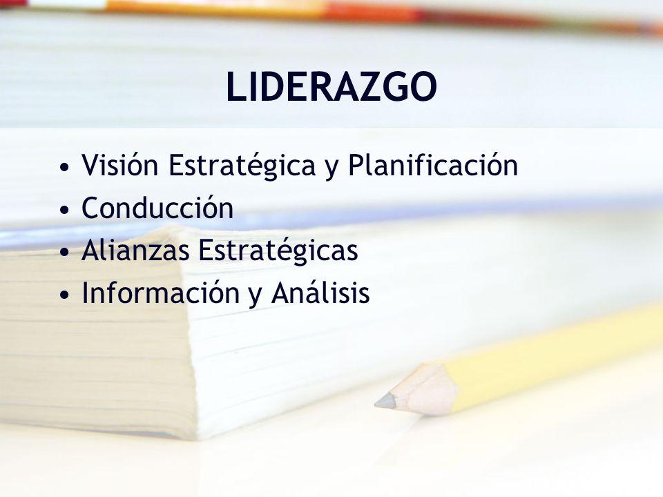 LIDERAZGO Visión Estratégica y Planificación Conducción Alianzas Estratégicas Información y Análisis