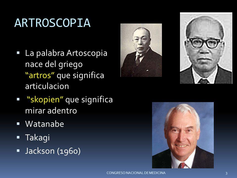 ARTROSCOPIA La palabra Artoscopia nace del griego artros que significa articulacion skopien que significa mirar adentro Watanabe Takagi Jackson (1960)
