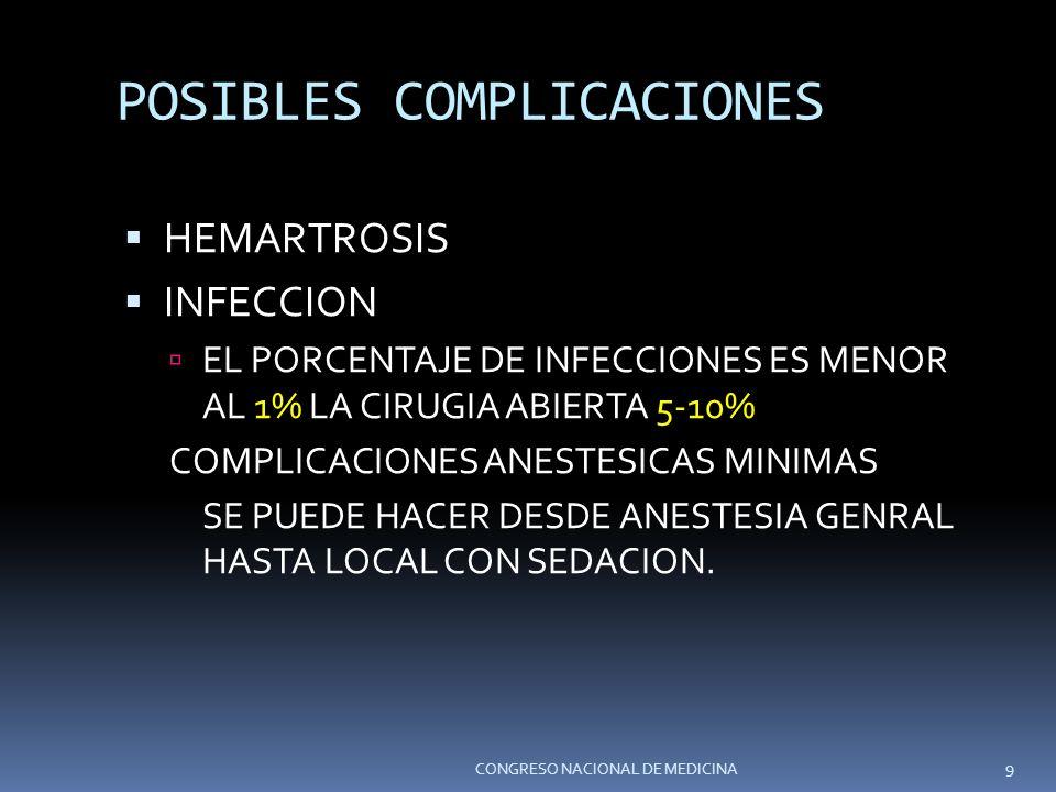 POSIBLES COMPLICACIONES HEMARTROSIS INFECCION EL PORCENTAJE DE INFECCIONES ES MENOR AL 1% LA CIRUGIA ABIERTA 5-10% COMPLICACIONES ANESTESICAS MINIMAS