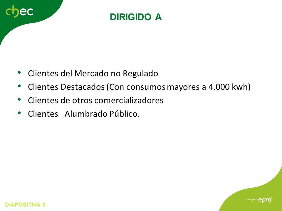 DIAPOSITIVA 8 Clientes del Mercado no Regulado Clientes Destacados (Con consumos mayores a 4.000 kwh) Clientes de otros comercializadores Clientes Alumbrado Público.