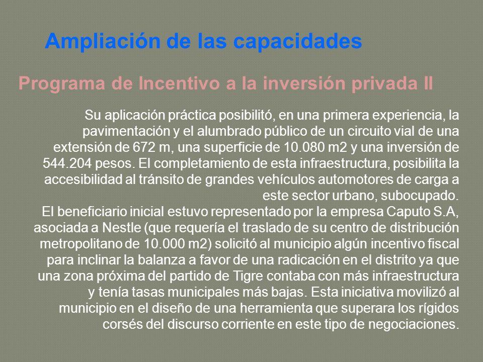 Programa de Incentivo a la inversión privada II Su aplicación práctica posibilitó, en una primera experiencia, la pavimentación y el alumbrado público de un circuito vial de una extensión de 672 m, una superficie de 10.080 m2 y una inversión de 544.204 pesos.