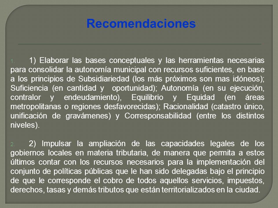 1. 1) Elaborar las bases conceptuales y las herramientas necesarias para consolidar la autonomía municipal con recursos suficientes, en base a los pri