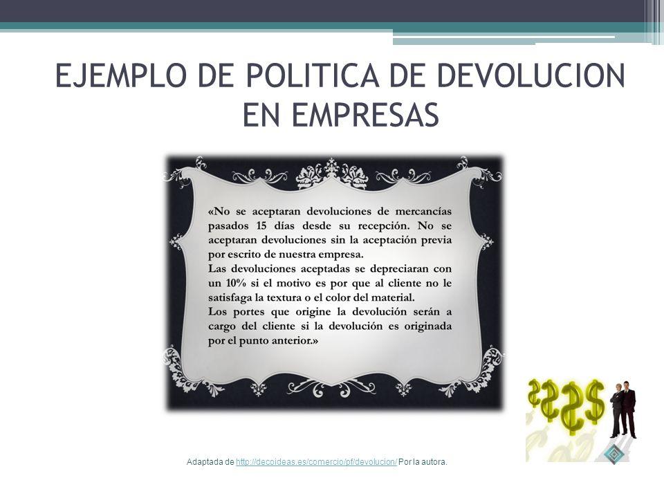 EJEMPLO DE POLITICA DE DEVOLUCION EN EMPRESAS Adaptada de http://decoideas.es/comercio/pf/devolucion/ Por la autora.http://decoideas.es/comercio/pf/devolucion/