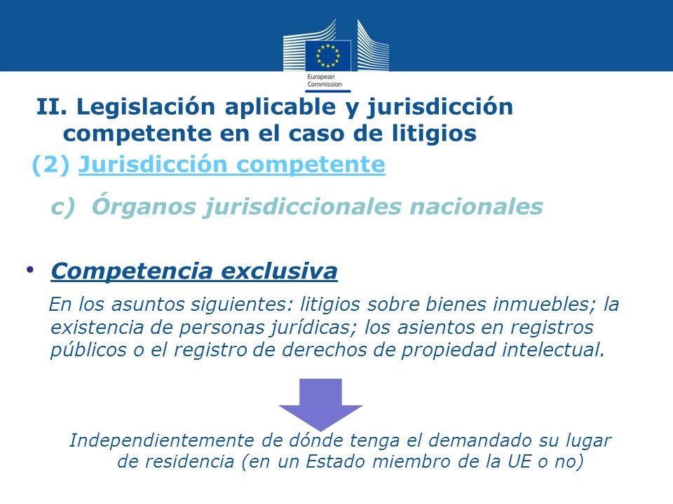 II. Legislación aplicable y jurisdicción competente en el caso de litigios c) Órganos jurisdiccionales nacionales Competencia exclusiva En los asuntos