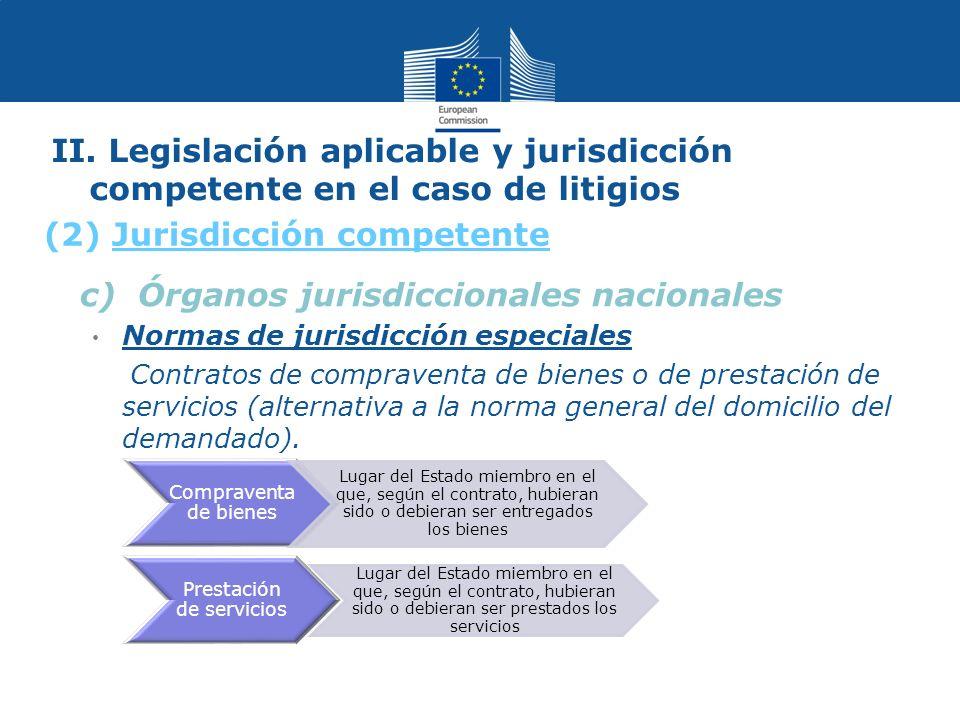 II. Legislación aplicable y jurisdicción competente en el caso de litigios c) Órganos jurisdiccionales nacionales Normas de jurisdicción especiales Co