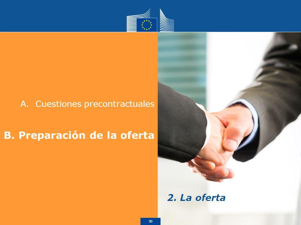 A.Cuestiones precontractuales B. Preparación de la oferta 2. La oferta 30