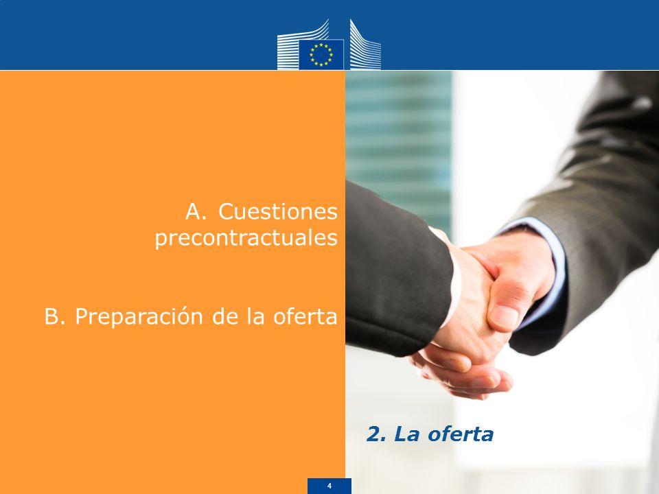 A.Cuestiones precontractuales B. Preparación de la oferta 2. La oferta 4
